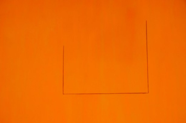 all orange with 3 black lines that form three sides of a square, top line of the square is missing. It's a picture of a painting by Robert Motherwell in an art gallery