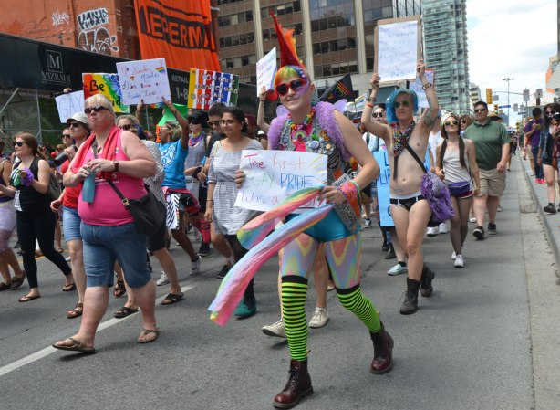 walkers in a dyke march in Toronto -