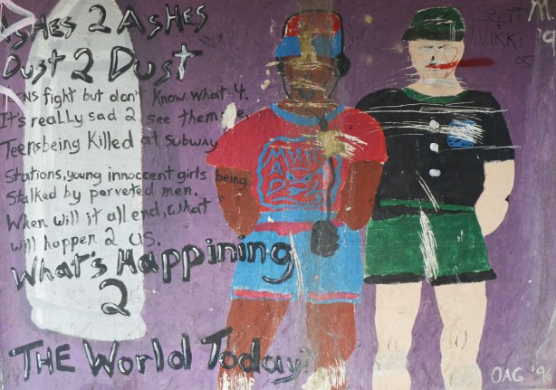street art, two people on a purple background, looking old and worn (the mural that is), lots of words have been written on it, including Ashes 2 Ashes, Dust 2 Dust and What's happening 2 the world today