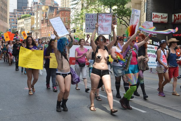 women walking in a dyke march