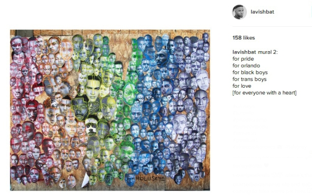 screen shot of a page from instagram, account of lavishbat, and the photo of a mural made up of hundreds of pictures of black men's faces.