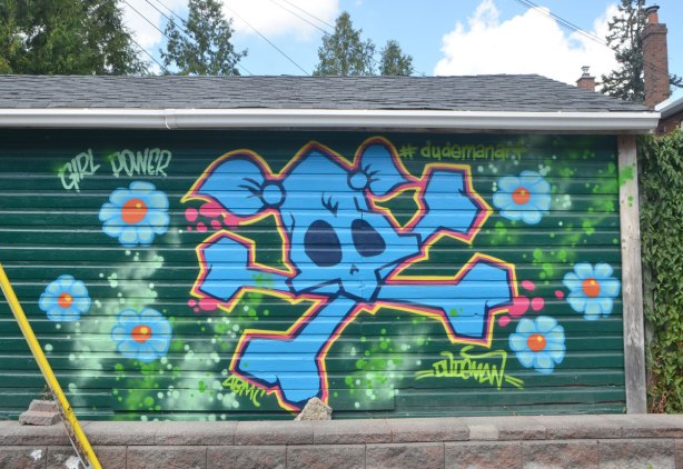 street art mural on the side of a garage in an alley, by #dudeman, blue stylized skull and cross bones with pig tails on the skull, the words, girl power as well