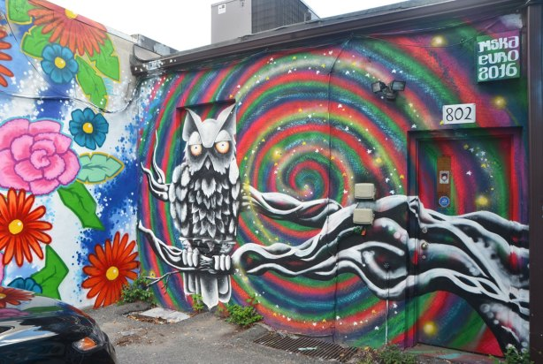 mural by mska of an owl sitting on the branch of a tree, the owl and tree are in black and white, there are concentric circles in many colours in the background.