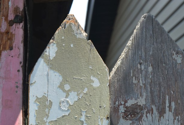 the top of two pieces of wood in a picket fence type gate, pointed tops, wood,