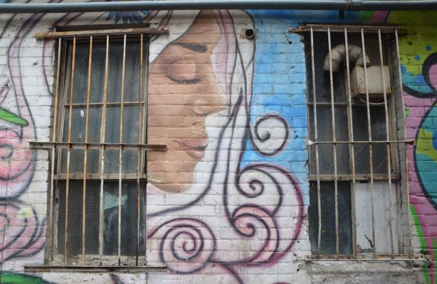 two old windows with rusted and bent metal grille on the windows, a street art painting of a woman in profile with eyes closed is between the windows, White hair