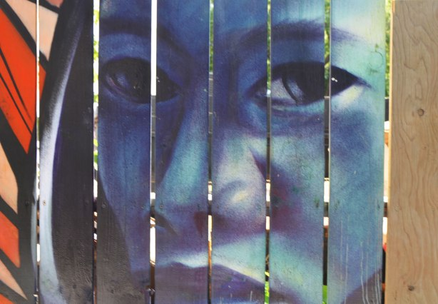 street art painting of part of a woman's face, in blues, on a wood fence, vertical pieces of wood with slight gaps between the wood