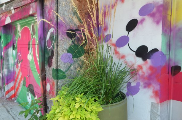 an old beige plastic barrel that has been turned into a planter, with pink tall grasses and greenery, in front of a garage door that has been painted in abstract street art in bright colours.