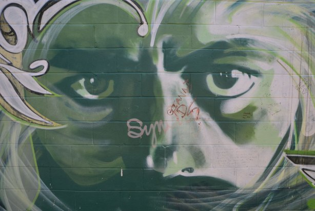 eyes, street art, staring straight ahead. part of a large face painted on a wall in green tones.
