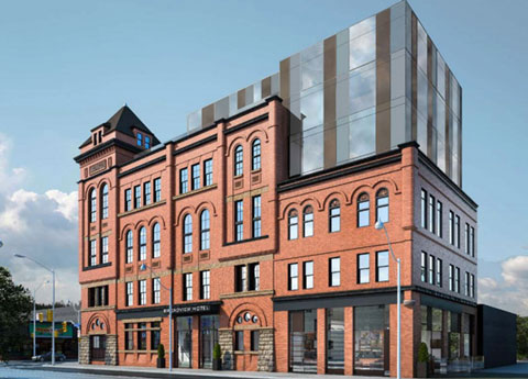 drawing of the New Broadview Hotel being renovated to incorporate an 124 year old brick building, new glass portion at the top of the building.