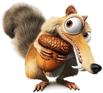 cartoon character Scrat from the movie 'ice age' holding onto an acorn