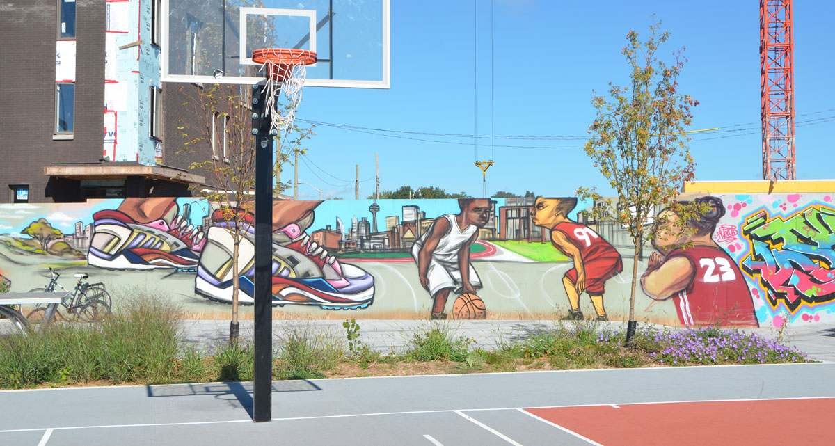 Shoes as i walk toronto for Basketball court mural