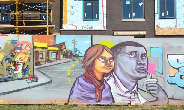 part of a larger mural, a man and a woman walking on a street, the man is drinking with a straw