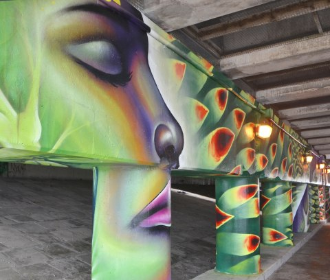 a woman's face in a mural, eyes closed, by Shalak Attack, other pillars painted with green, red and orange petals.