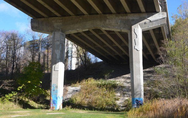 in a park under a bridge, grassy area, some trees on either side, 2 concrete support pillars with street art on the bottom of each.
