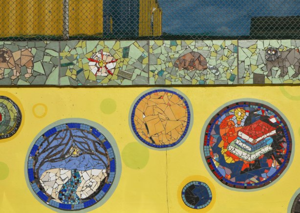 some of the mosaic medallions on the Coxwell mosaic mural