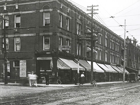 old black and white photo of the northeast corner of Queen East and Sherbourne