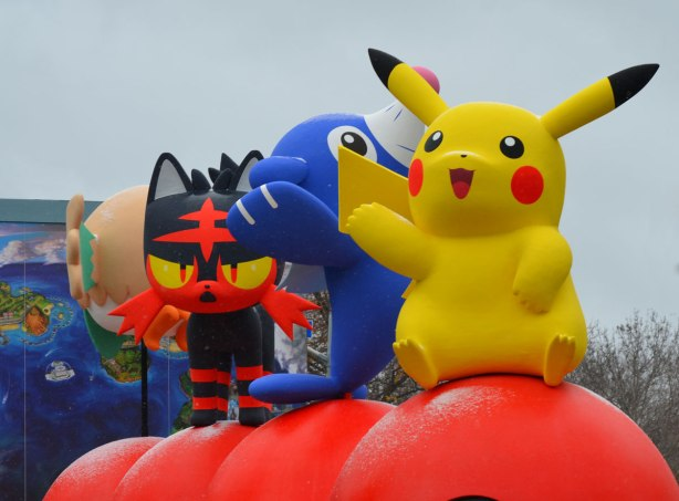 Santa Claus parade, pokemon float, with a large yellow pikachu in front