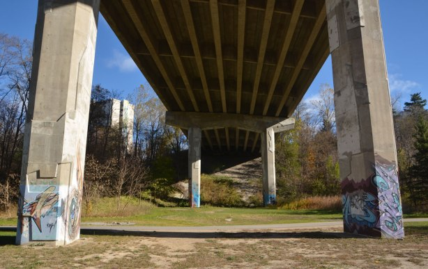 bridge over a park and creek