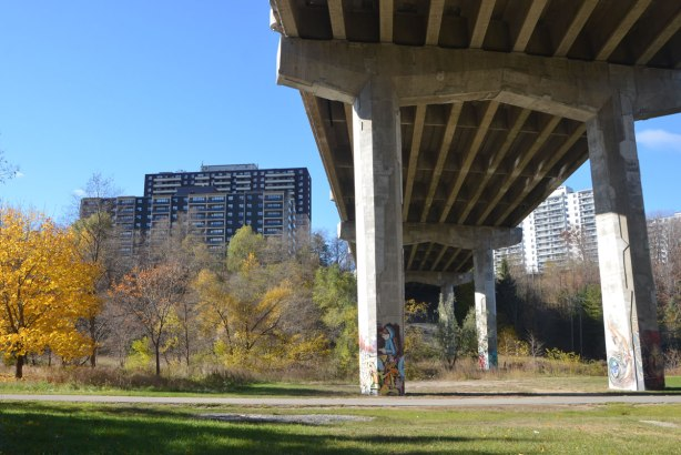 park with grass and autumn foilage trees, apartment building in the background, a large bridge passes over with four or five concrete pillars. SUnny blue sky day