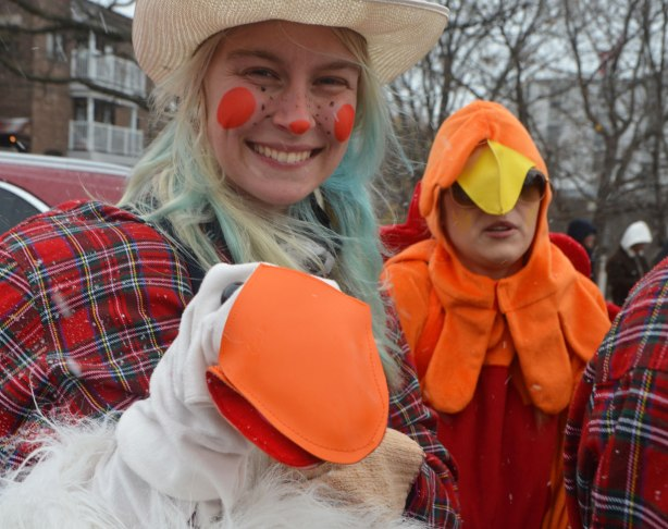 Santa Claus parade - a woman in hat and plaid shirt has a puppet of a long necked white goose on her hand and arm