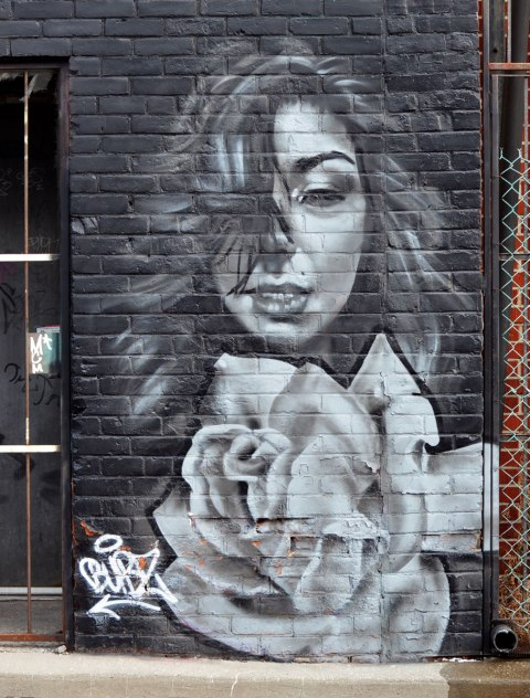 a black and white mural by bubz, grey tones actually, of a woman with long hair and a white rose