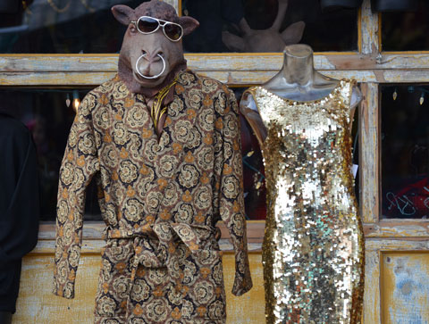 a mannequin with a camel mask on, wearing sunglasses, with a large ring through it's nose, wearing a robe with a busy pattern in shades of brown, another mannequin that is headless is beside the camel. The second mannequin is wearing a dress covered in shiny sparkly gold sequins.