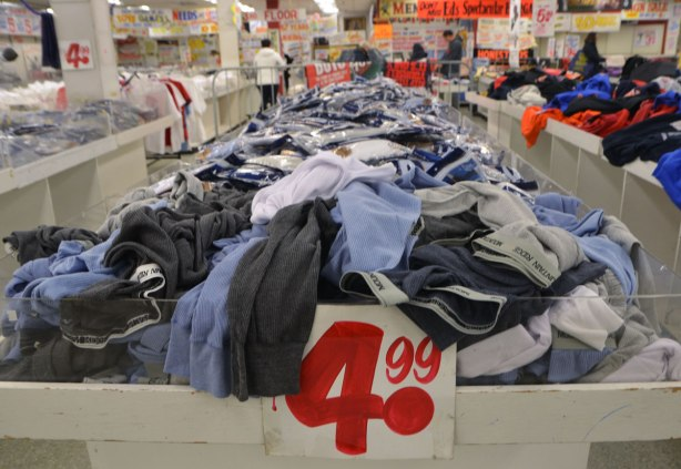 interior of Honest Eds store as it gets ready to close down. A bin of men's underwear for $4.99