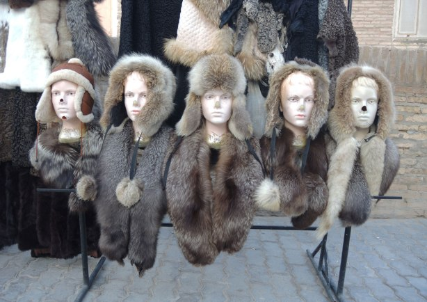 a row of manneguin busts with all the noses broken, they are all wearing fur hats and scarves