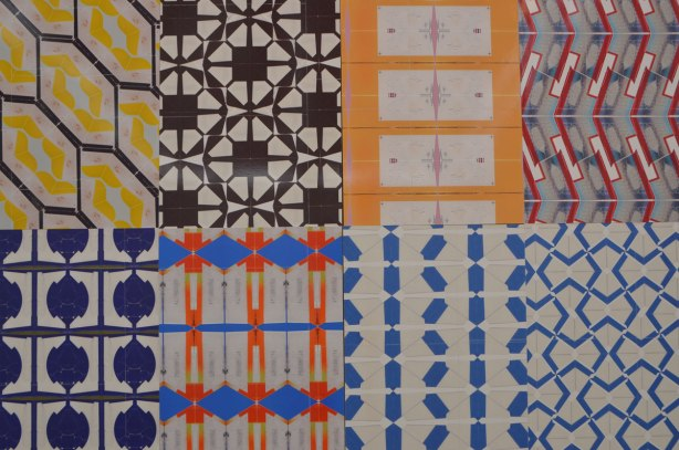 eight different patterns made with labels that are displayed side by side.