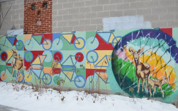 mural of many bikes, as well as some deer. Deer look life like, standing in the alley watching you. Graffiti animals, street art painting of deer on a cement block garage wall.