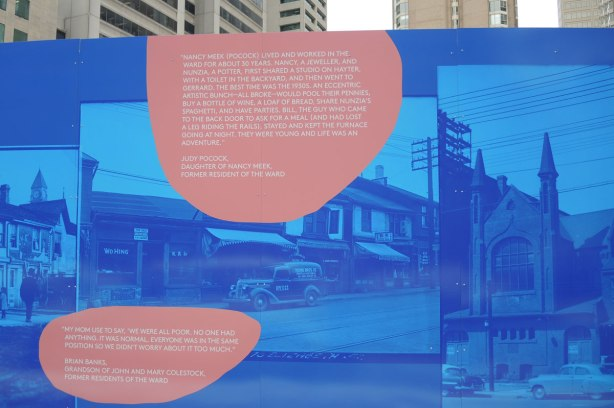part of larger mural, reprints in blue tones of historical photos from city archives of ould buildings from the part of the city called The Ward that was demolished in the 1950's to make way for new City Hall