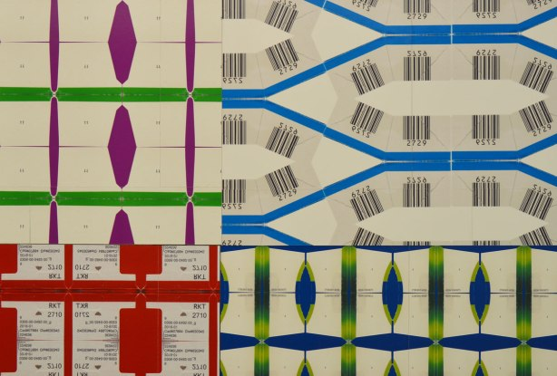 close up of the patterns made with different labels and barcodes by Kristan Horton