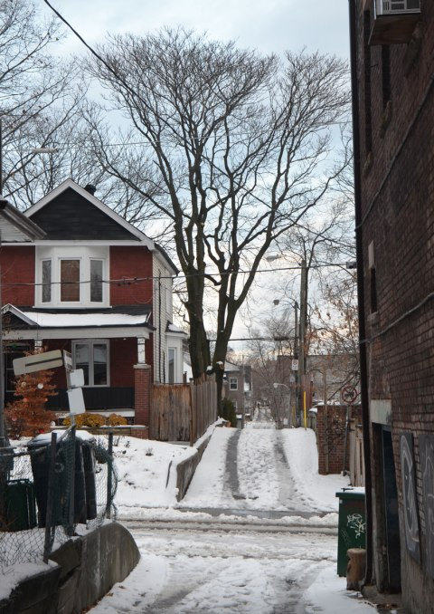 looking down an alley, a two storey house, a large mature tree with no leaves, the brightening sky of the late afternoon as the cloud cover lifts enough to let a but of sunlight through. Snow in the alley, with tire tracks from a few cars that have driven over it.