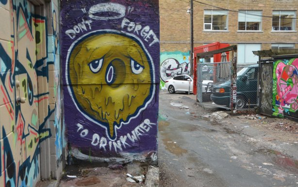a street art piece in an alley that is purple background with with a dripping brownish circle with two eyes and the words don't forget to drink water. The alley is also in the picture with parts of a couple of other murals visible