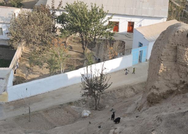 kids playing on the street in Nurata Uzbekistan.