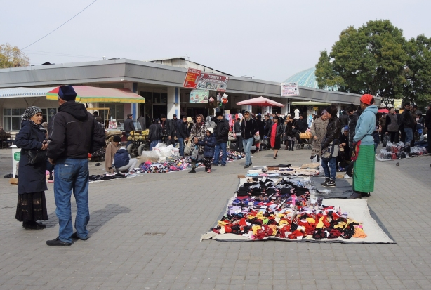 selling things outside on the ground