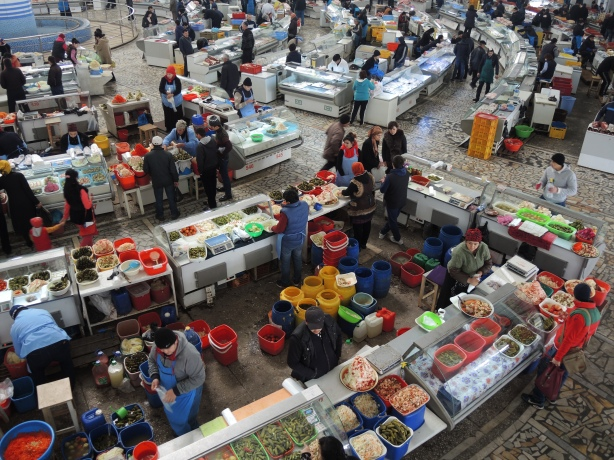 looking down at the lower level of the market from upstairs