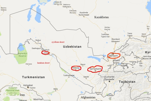 map of Uzbekistan, modified from google maps with 4 towns circled in red, Khiva, Bukhara, Samarkand and Tashkent