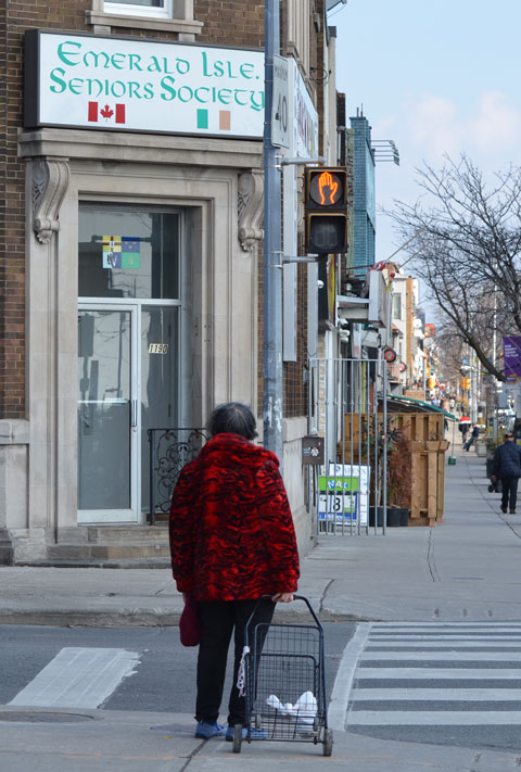 an older woman in a bright red jacket stands on a corner waiting for a green light. On the other side of the street is the Emerald Isle Seniors Society