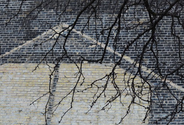 The ghost outline of a building, in white, on a black brick wall. Tree branches without leaves hang in front of the wall.