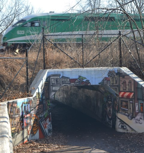 a green and white GO train passes over a tunnel that provides access between two neighbourhoods. The tunnel has been completely covered by a mural by elicser that shows people going about their everyday outdoor activities