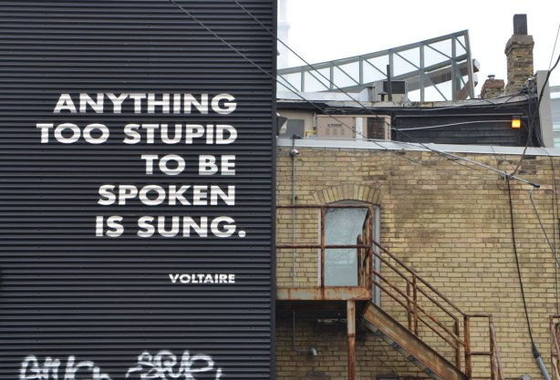 A quote by Voltaire in large capital letters, Anything too stupid to be spoken is sung.