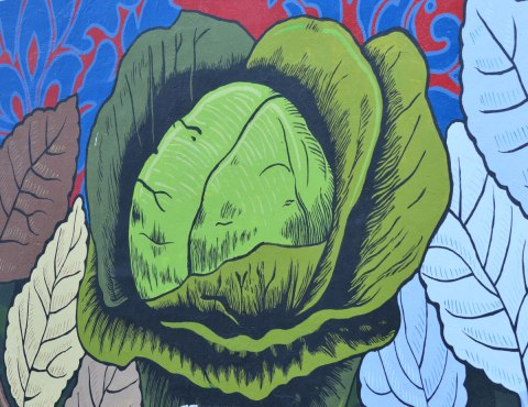 painting of a cabbage in a mural