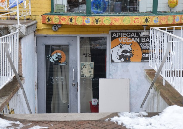 the doors at the entrance to the Apiecalyps Vegan restaurant, whose symbol is a raccoon. glass doors, steps down from street level to the entrance