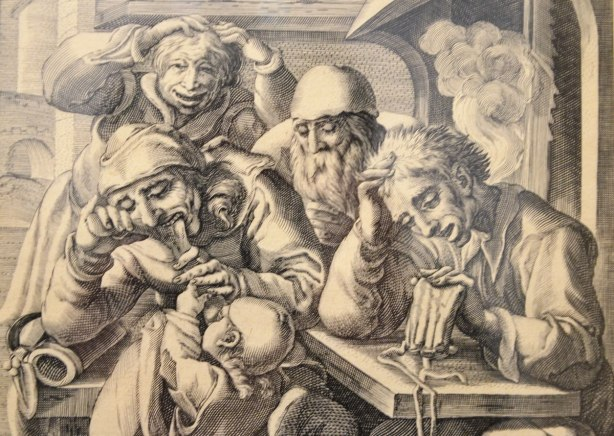 engraving on paper called Drunken men at a table, by Karel Van Mander, done late in the 1500's