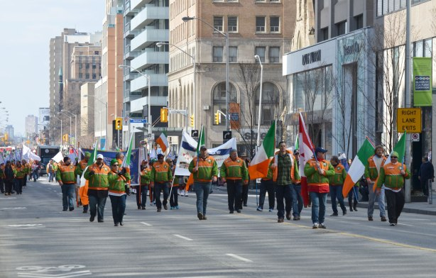 liuna union members walk in the St Patricks day parade in Toronto