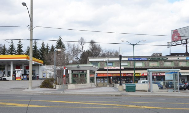 looking across the street to the small north entrance to Bessarion subway station, with a small two storey plaza beside it