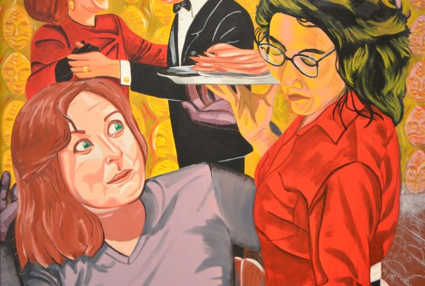 a painting of a waitress wearing black glasses serving a plate of food to a surprised looking red head woman with green eyes, called Waitress, painted by Shelley Niro