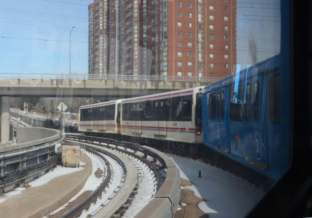 the Scarborough RT train as it leaves Kennedy station, the track curves so you can see the front of the train out the window