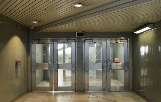 two sets of double doors, TTC subway station, metal doors with glass insets.